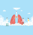 lungs smoke cigarette concept with smoke and team vector image vector image