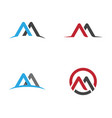 m letter logo template vector image vector image
