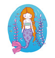 mermaid woman underwater with fishes and plants vector image vector image