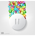 Pause button icon Application buttonSocial media vector image vector image