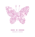 pink flowers lineart butterfly silhouette vector image