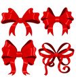 red ribbon bows silky 3d design element vector image vector image