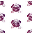 seamless pattern with pretty pug puppy vector image