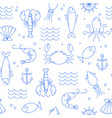 seamless pattern with seafood vector image vector image