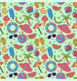 seamless summer pattern with beach elements vector image vector image