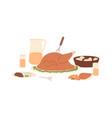 served festive meal roast turkey and vegetables vector image