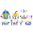 set of birthday happy people characters in a flat vector image
