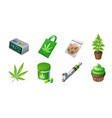 set of cannabis production and equipment icons vector image