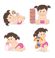 set of isolated baby girl in different positions vector image vector image