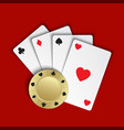 set of simple playing cards with casino chips vector image vector image