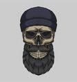 skull bearded mustache head vector image
