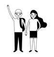 smiling boy and girl holding hands vector image vector image