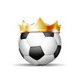soccer ball in golden royal crown vector image vector image