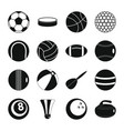 sport balls icons set flat style vector image vector image