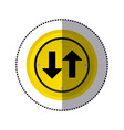 sticker yellow circular frame two way traffic sign vector image vector image