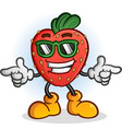 strawberry cartoon with sunglasses vector image vector image