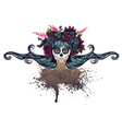 Sugar Skull Girl in Flower Crown6 vector image vector image
