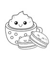 sweet cookie with chocolate mug pastry kawaii vector image vector image
