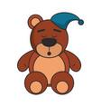 teddy bear with pijama hat cartoon vector image vector image