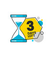 three days left sale banner with a timer and digit vector image