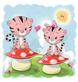 two cute cartoon tigers and mushrooms vector image vector image