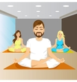 young people sitting in yoga pose on mat in gym vector image vector image