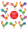 colorful roosters vector image