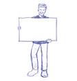 man holding blank board - hand drawn vector image