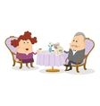 Old Gentleman and lady drinking coffee vector image