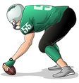 Football Player Kneels and Holds Ball Side View vector image