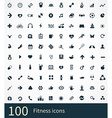 100 fitness icons set vector image