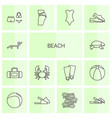14 beach icons vector image vector image