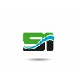 50 anniversary wave logo blue vector image vector image