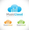 Abstract audio music cloud online service logo vector image vector image
