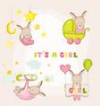 bagirl kangaroo set - for bashower cards vector image vector image