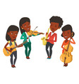 band of musicians playing on musical instruments vector image
