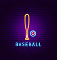 baseball game neon label vector image