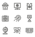 Basketball simple line icons vector image vector image