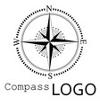 black and white compass logo icon rose of vector image