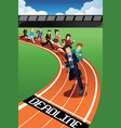 business people racing against time vector image vector image