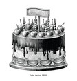 cake hand drawing vintage clip art isolated on vector image