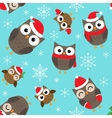 Christmas pattern with owls vector image vector image