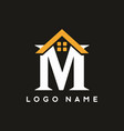 classic m letter with house sign for real estate vector image vector image