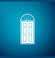 closed door icon isolated on blue background vector image