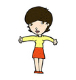 comic cartoon woman giving thumbs up symbol vector image vector image