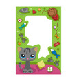 cute happy birthday border cat photo frame vector image vector image