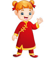 cute little girl with chinese traditional costume vector image vector image