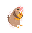 cute postcard happy family with a chicken vector image