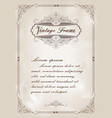 decorative frame in vintage style vector image vector image