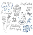 Doodle collection with text and elements for vector image vector image